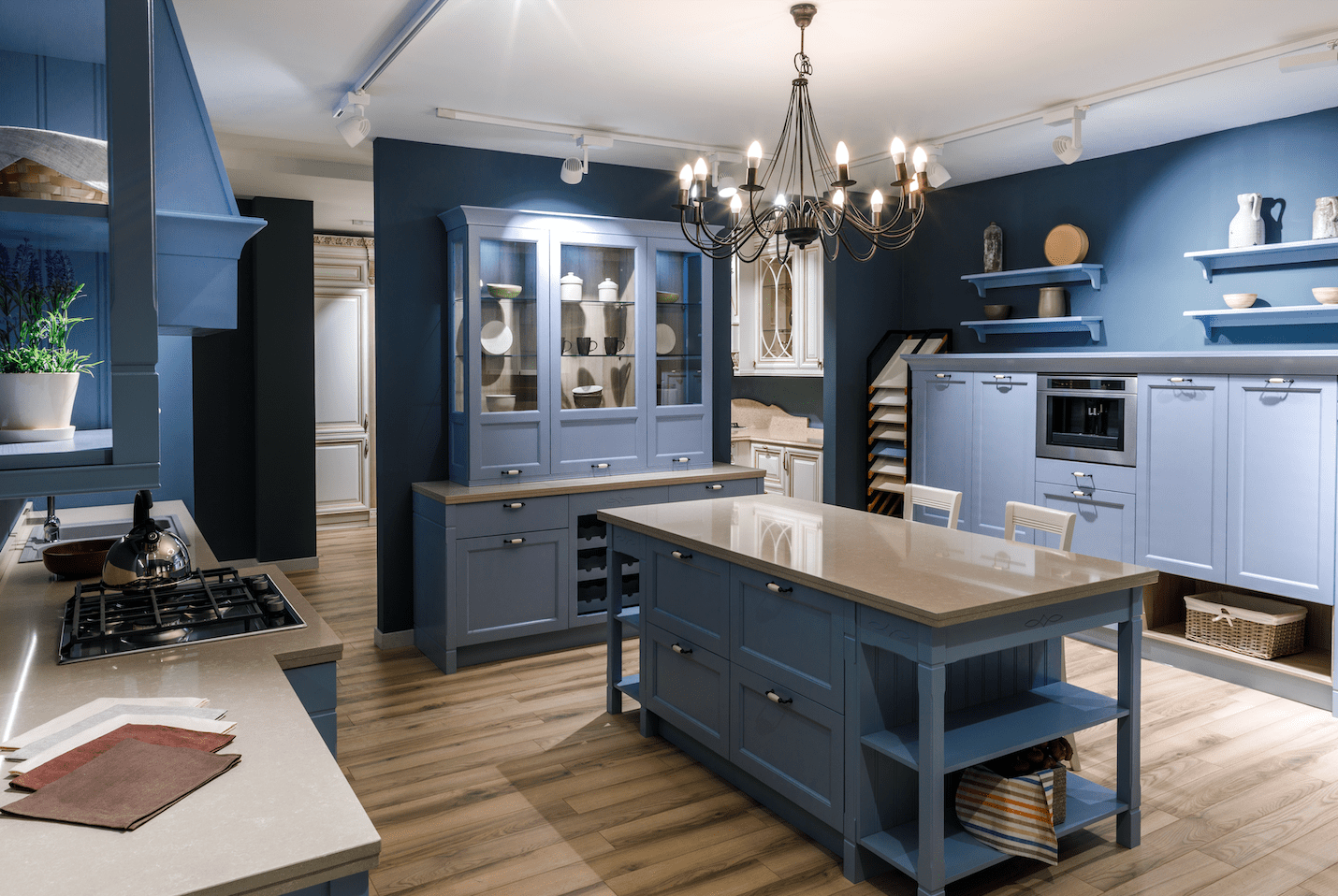 Blue Kitchen and Blue Kitchen Cabinets